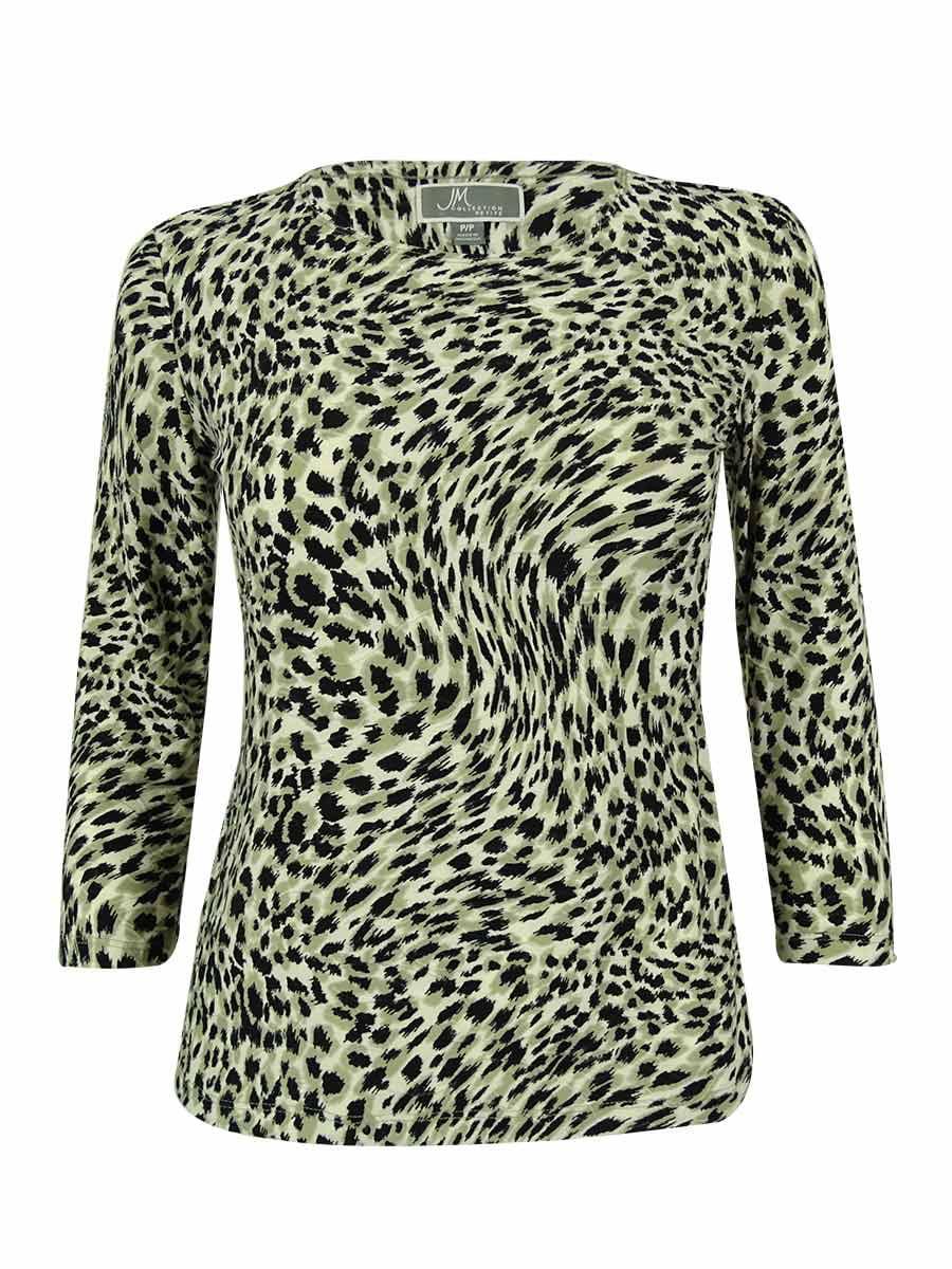 Women's 3/4 Sleeve Animal Print Jacquard Top