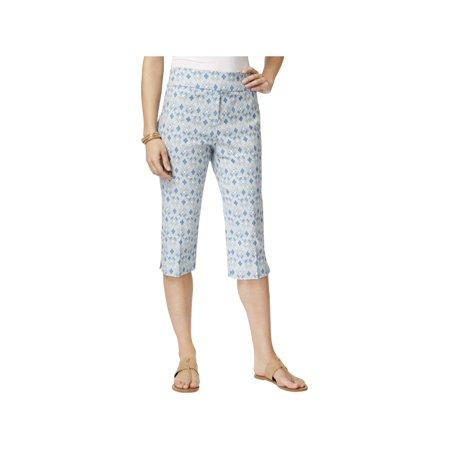 Alfred Dunner Capri Pants - Alfred Dunner Womens Pattern Modern Fit Capri Pants Blue 12