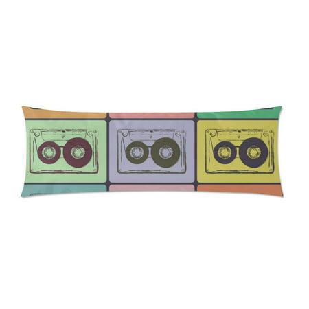 Zipp Cassette Body (MKHERT Retro Audio Cassettes Body Pillow Pillowcase Pillow Protector Cushion Cover 20x60 Inch )