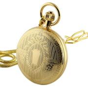 Hand-winding Mechanical Pocket Watch Skeleton Gold Retro Full Hunter Mens