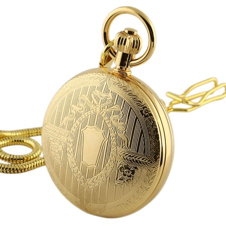 Hand-winding Mechanical Pocket Watch Skeleton Gold Retro Full Hunter - Set Yellow Pocket Watch