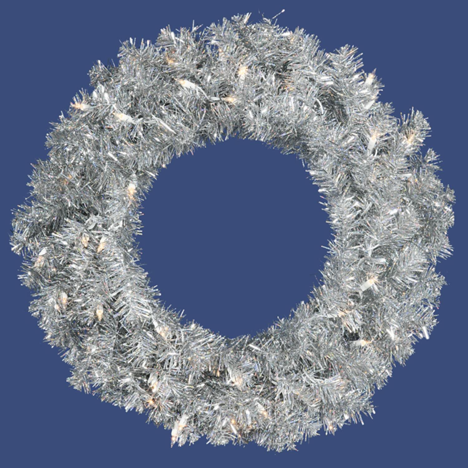 "Allstate 24"" Prelit Sparkling Silver Tinsel Artificial Christmas Wreath - Clear Lights"