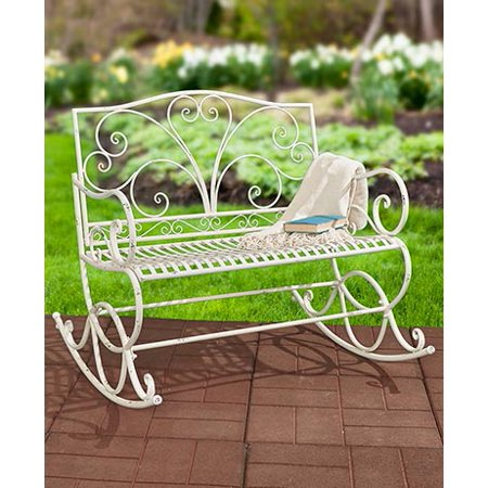 Best A Antique White Park Bench Metal In The Sun Long Patio Benches For Residential Living Room English Garden Inside Outdoors Porch Picnic Seating Hot Settee Outdoor Outside Lifetime With Back Cheap ()