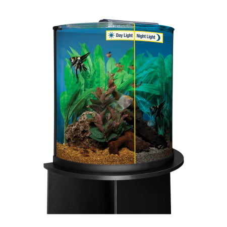 Aquatics Half Moon Glass Aquarium with LED Lighting, 20 gal - Walmart ...