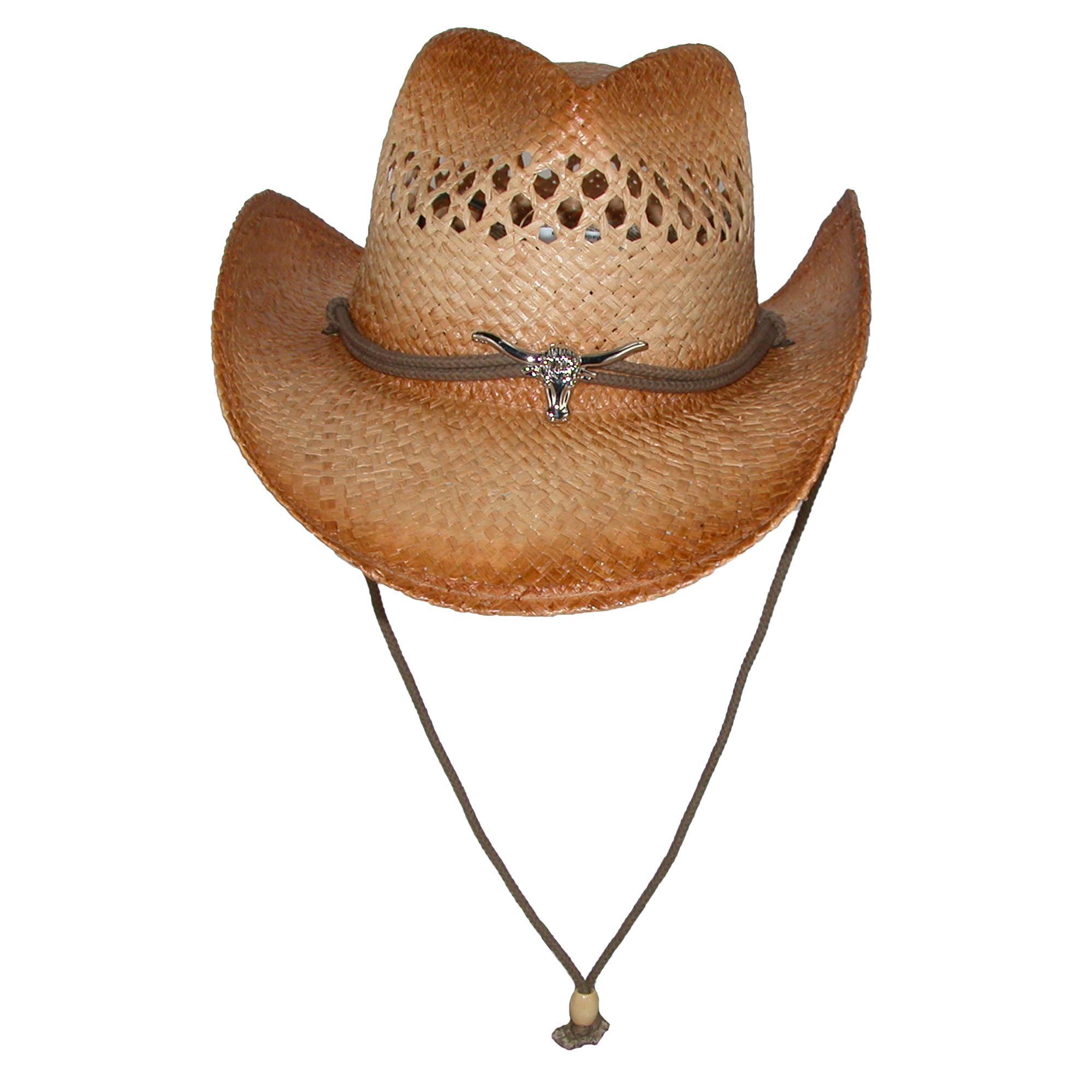 Kenny K Men s Raffia Cowboy Hat with Longhorn Concho b8dd9c2953f