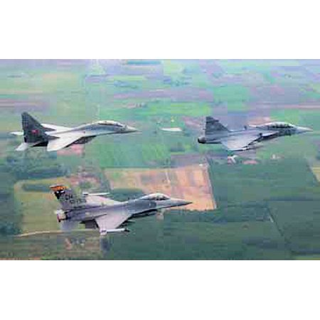 LAMINATED POSTER A 178th Fighter Wing F-16 Fighting Falcon flies alongside a Hungarian air force MiG-29 Fulcrum and J Poster Print 24 x 36 (Fighting Fulcrum)