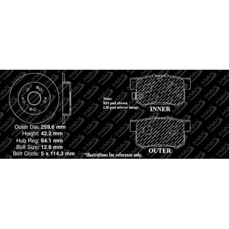 Max Brakes Rear Elite Brake Kit [ E-Coated Slotted Drilled Rotors + Ceramic Pads ] KT020082 | Fits: 2010 10 2011 11 Honda Civic w/ Rear Disc Brakes - image 7 de 8
