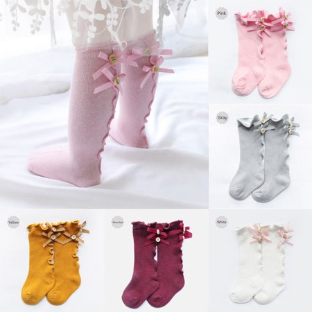 Newborn Baby Toddler Knee High Cute Long Sock Boys Girls Leg Warmers Socks (White Knee High Socks With Red Bows)