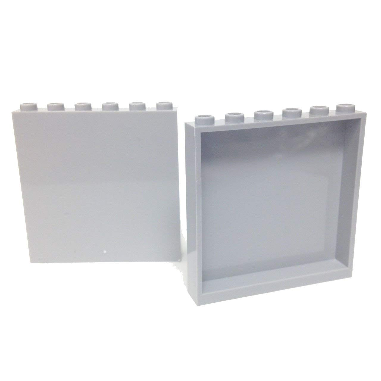 LEGO Lot of 2 Light Bluish Gray 1x6x3 Construction Panels Studs on Sides