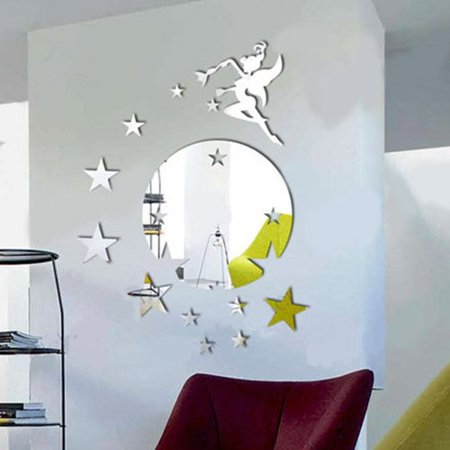 Walplus Flying Fairy Tinker Bell with Stars Round Mirror Wall Art Wall Decal Hanging Fairy Mirror