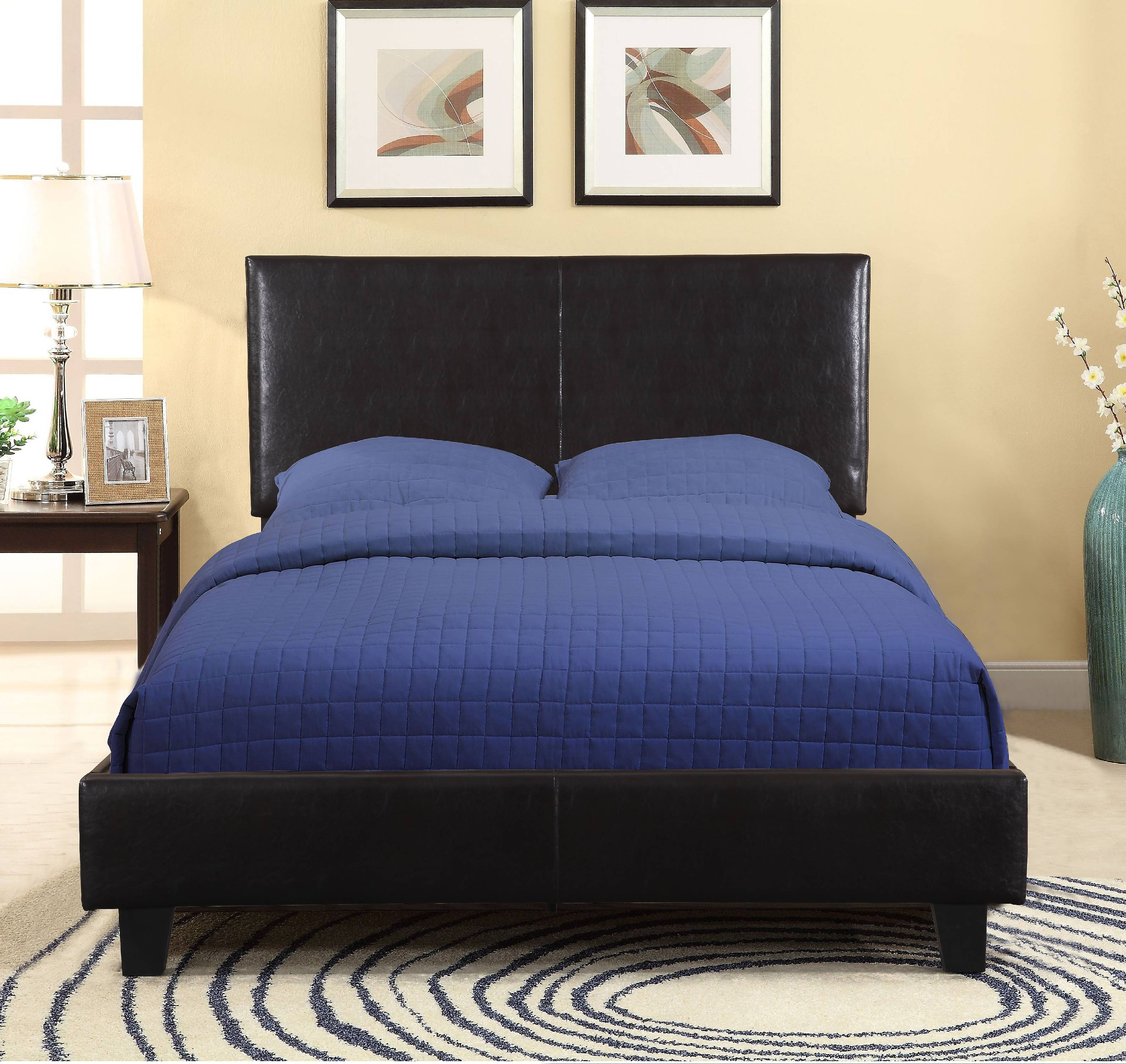 US Pride Faux Leather Platform Bed With Headboard