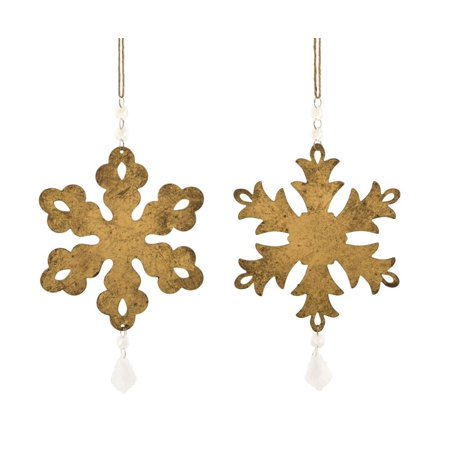 Club Pack of 12 Distressed Yellow Snowflake Christmas ...