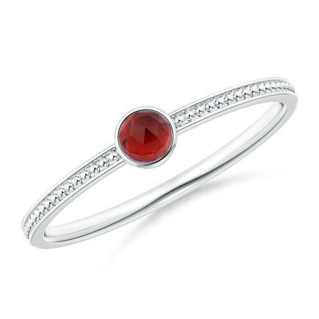 Valentine Jewelry Gift - Bezel Set Garnet Ring with Beaded Groove Shank in Silver (3mm Garnet) - SR1866G-SL-AAA-3-6.5