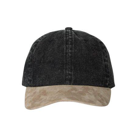 Mega Cap Headwear Washed Denim With Suede Bill Cap 7611