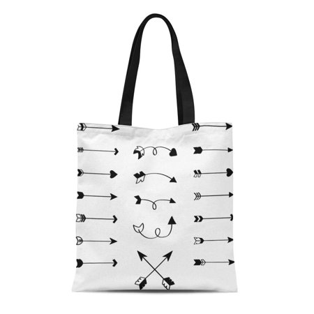 LADDKE Canvas Tote Bag Arrows Black and White Hand Sketch Heart Twisted Crossing Durable Reusable Shopping Shoulder Grocery Bag