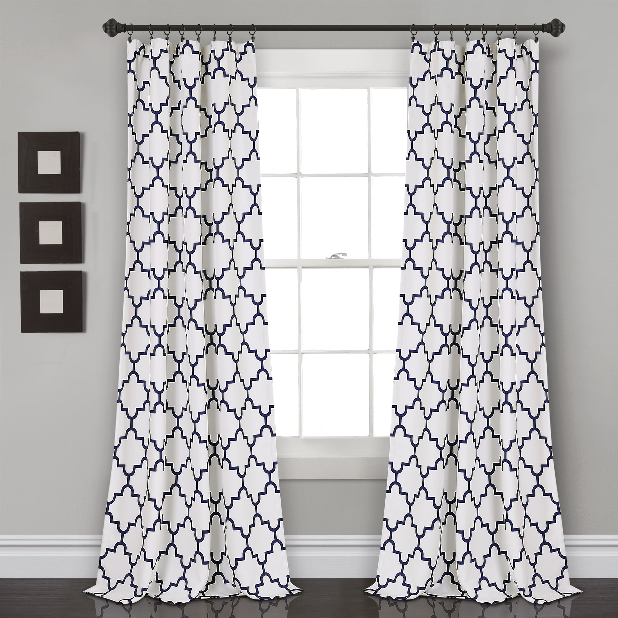 Lush Decor Bellagio Room Darkening 95 X 52 Geometric Navy 100 Polyester 3 Rod Pocket Pair Window Panel Walmart Com Walmart Com