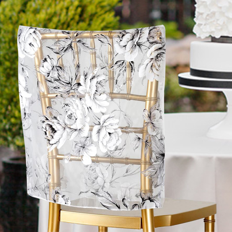 BalsaCircle White Sheer Organza Roses Square Top Chair Caps Covers Slipcovers for Party Wedding Reception Decorations