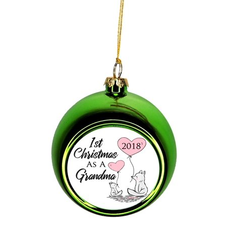 New Baby - 1st Christmas as a Grandma 2019 First Bauble Christmas Ornaments Green Bauble Tree Xmas Balls ()
