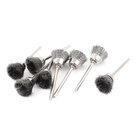 8pcs 3mm Shank 15mm Cup Dia Stainless Steel Wire Polishing Brush for Rotary Tool