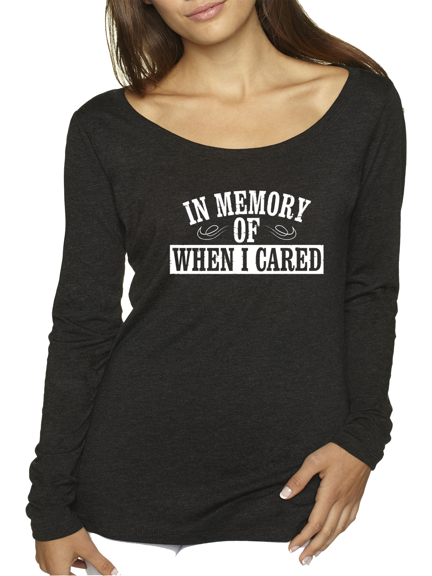 c19103909 New Way 907 - Women's Long Sleeve T-Shirt In Memory of When I Cared Sarcasm  Funny Humor Small Black