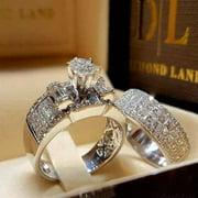 Women's Simulation Masonry Peak Eternal Ring