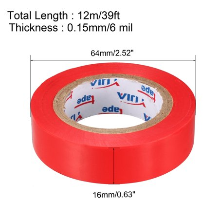 """Insulating Tape ,PVC Electrical Tape,  Single Sided, 5/8"""" Width, 39ft Long, 6 mil Thick, Red - image 1 of 4"""