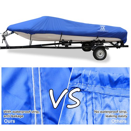 """14-16ft 90"""" 300D Polyester Boat Cover Waterproof Blue V-Hull Protector - image 5 de 9"""