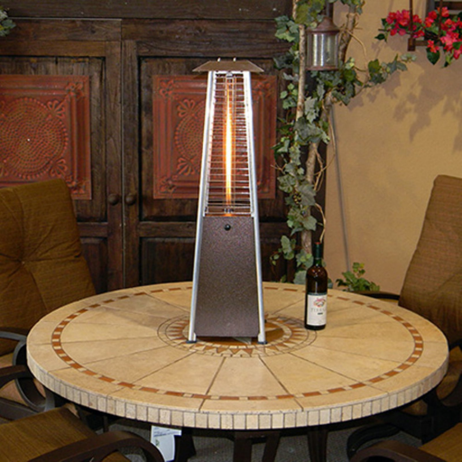 Attirant Hiland Tabletop Bronze Glass Tube Patio Heater