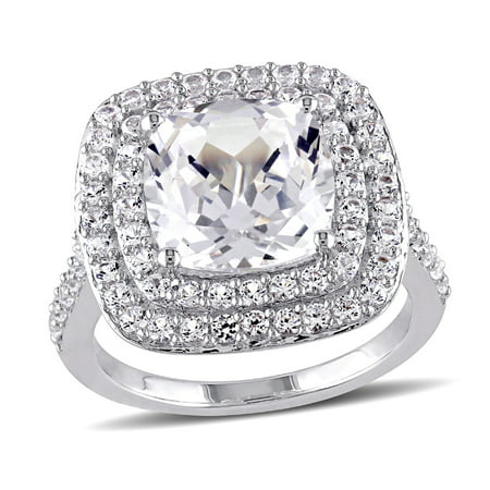 Cushion Cut Created White Sapphire 7.1 Carat (ctw) Double Halo Engagement Ring in Sterling (Cushion Cut Sapphire)