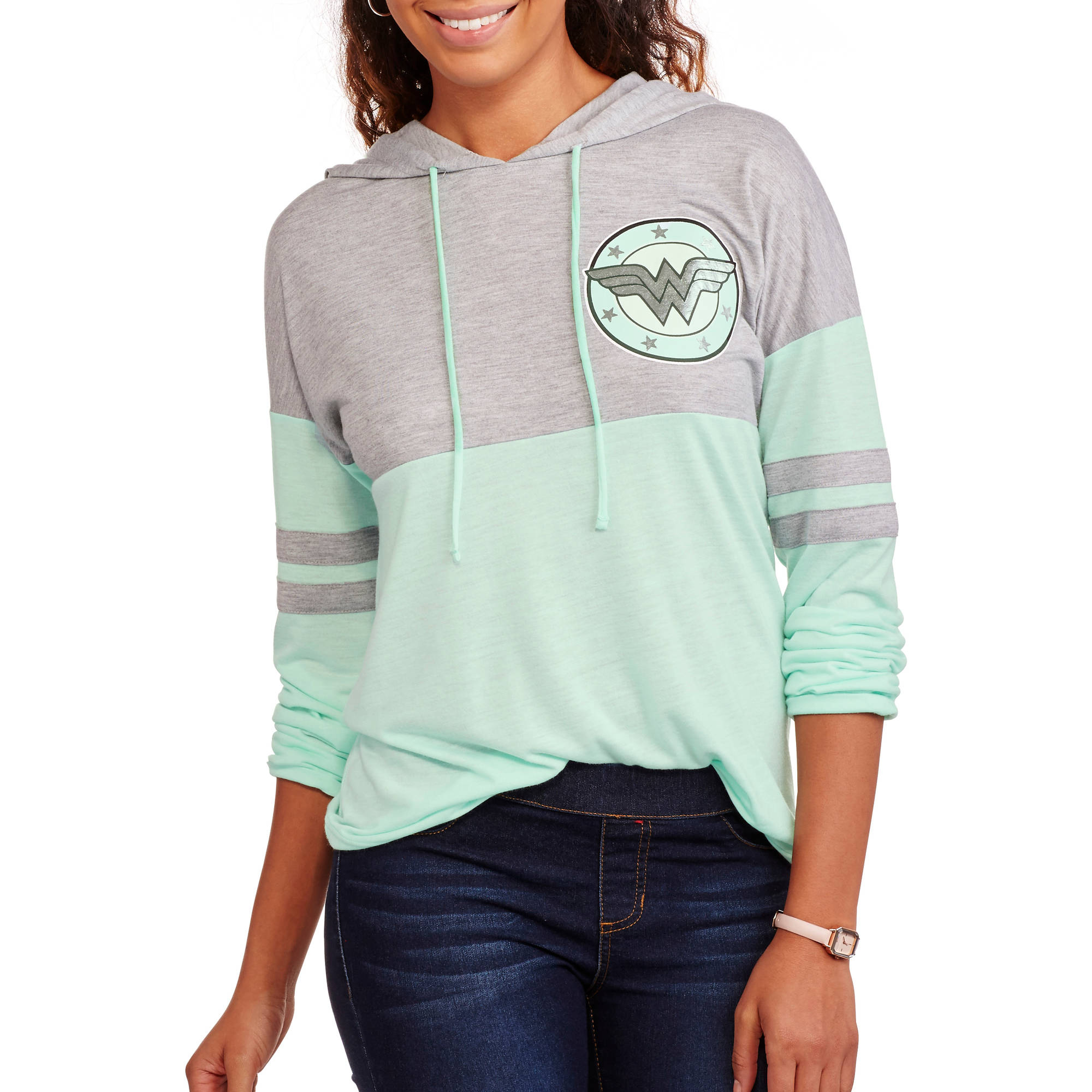 Juniors' Graphic Pull Over Hoodie Wonder Woman