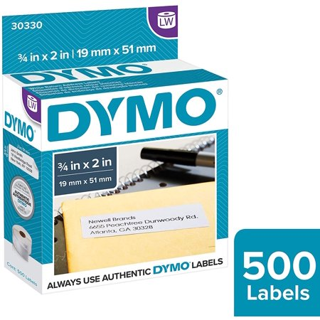 DYMO LabelWriter Return Address Labels, 3/4 x 2, White, 500 Labels/Roll Large Return Address Labels