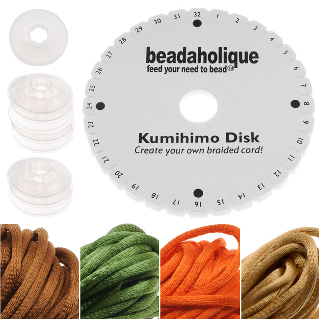 Kumihimo Braiding Kit 'Earthtone Mix'- Round Disc / Bobbins / 4 Color Satin 2mm Cord