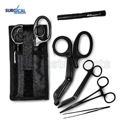 Shears EMT/Scissors Combo Pack w/Holster Tactical Black Scissors Forceps Light