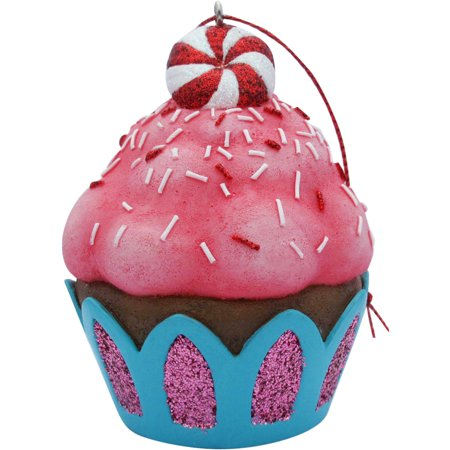 Pink Peppermint Top Cupcake Christmas Tree Ornament (Peppermint Christmas Ornaments)