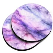 CARIBOU Round Neoprene Car Coaster for Drinks, Set of 2pcs, Purple Fuchsia Marble