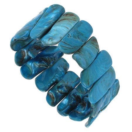 - Peacock Blue Mother of Pearl Shell Stretch Bracelet Make a Statement