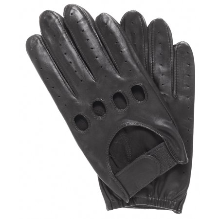 Pratt and Hart Men's Leather Driving Gloves with Velcro Strap