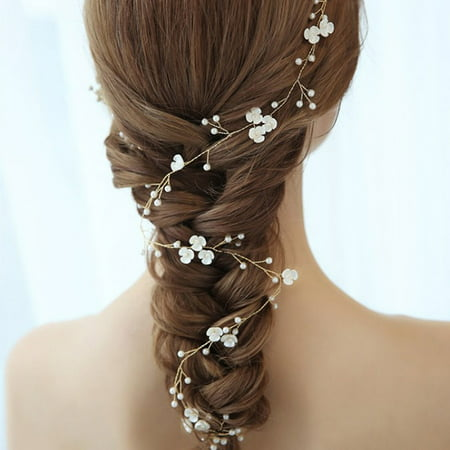 Women Headband Hair Vine Flowers Imitation Pearl Girls Headpiece Wedding Bridal Hairs Accessories](Girls Vine)