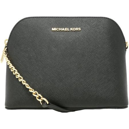 2d1f8ff0639e1f Michael Kors - Women's Large Cindy Dome Crossbody Leather Cross Body Bag  Tote - Black - Walmart.com