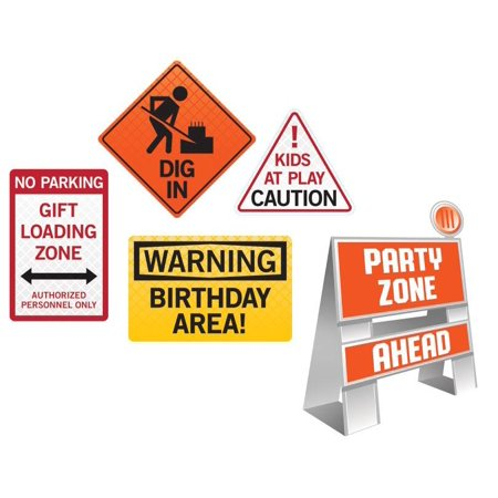 Construction Party Signs (Creative Converting Big Dig Construction Easel And Wall Sign Set, 5)