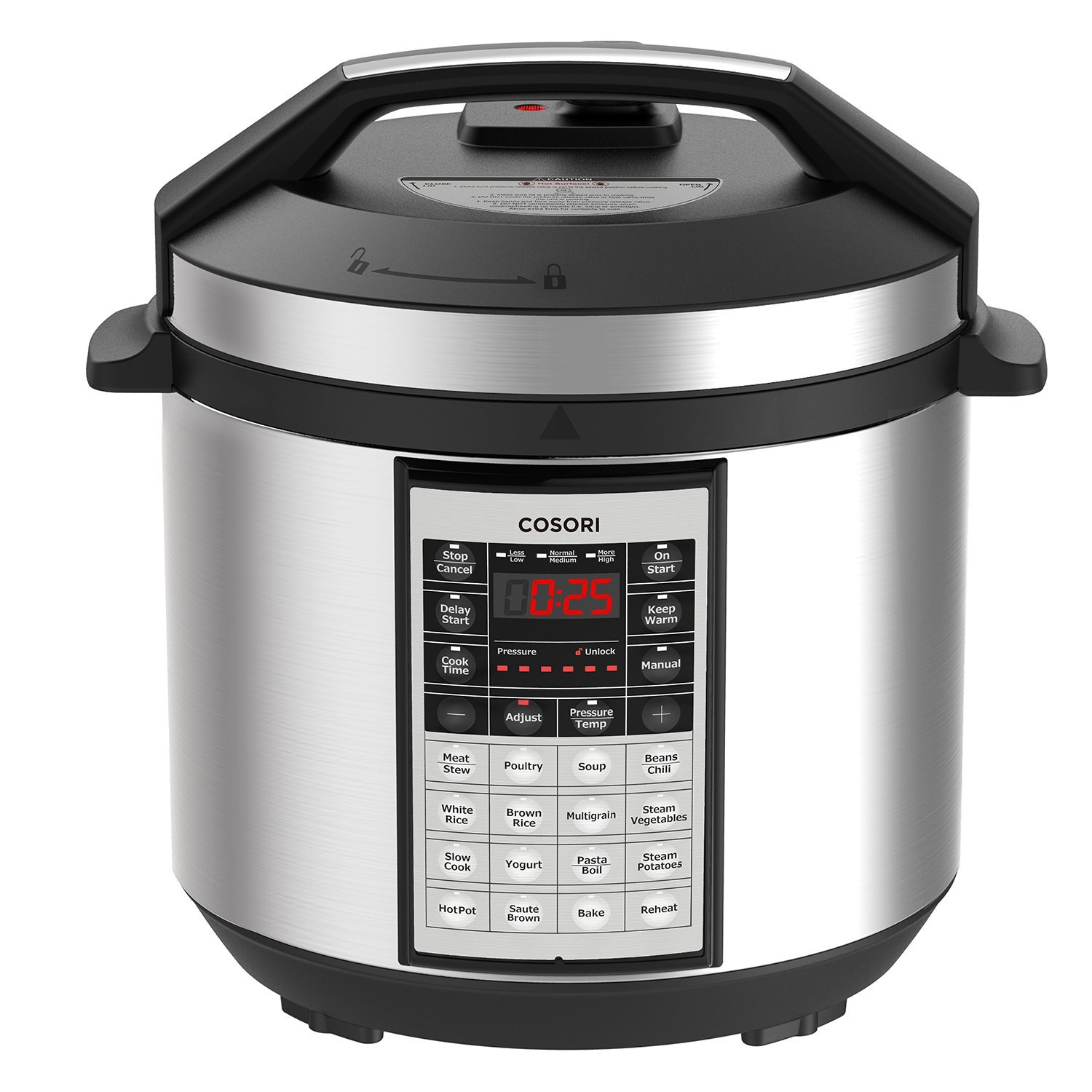 COSORI 6 Qt Premium 8-in-1 Programmable Multi-Cooker (Pressure Cooker, Rice Cooker, Steamer, Warmer, Etc.), 1000W, Includes Glass Lid, Sealing Ring and Recipe Book