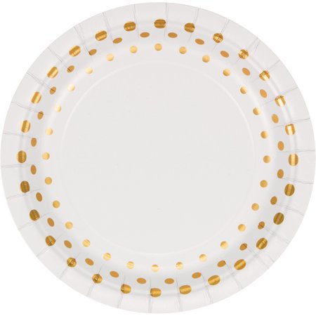 Club Pack of 96 Sparkle and Shine Gold Disposable Foil Party Lunch Plates 7