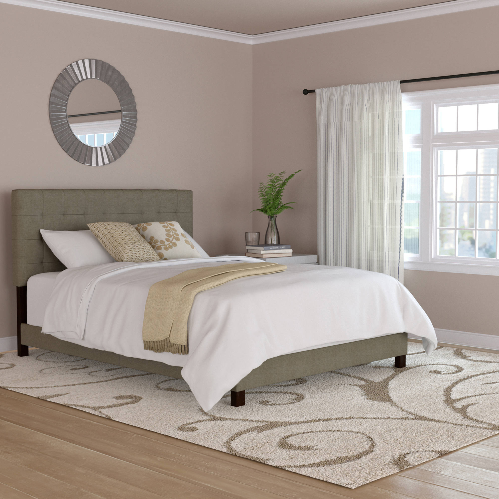 Mainstays Fabric Tufted Queen Size Bed, Grey