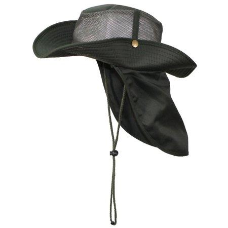 3c68e6cc7ba Tropic Hats Summer Cotton Wide Brim Mesh Safari W Neck Flap   Snap Up Sides  - Olive S - Walmart.com