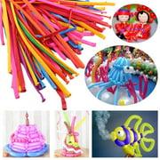 WALFRONT 200Pcs DIY Balloons Magic Long Twist Latex Balloons Tying Making Decor Mixed Colors