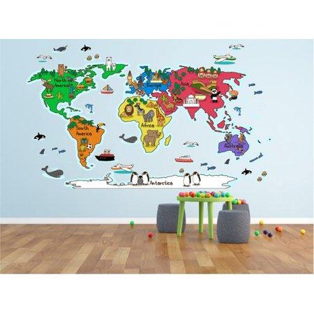 World Map Wall Decal Kids.Zoomie Kids Hinz World Map Wall Decal Walmart Com