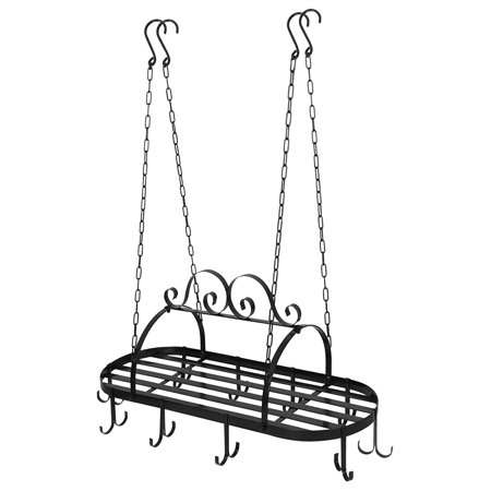 - Zeny Hanging Iron Pot Rack Ceiling Mounted Kitchen Storage Utility Cookware Hook Rack Pan Hanger with 10 hooks,Multi-Purpose Organizer for Home,Kitchen Cookware,Utensils