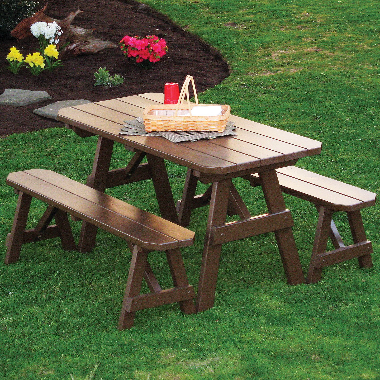 Click here to buy A & L Furniture Yellow Pine Traditional Picnic Table with 2 Benches by A and L Furniture Co.