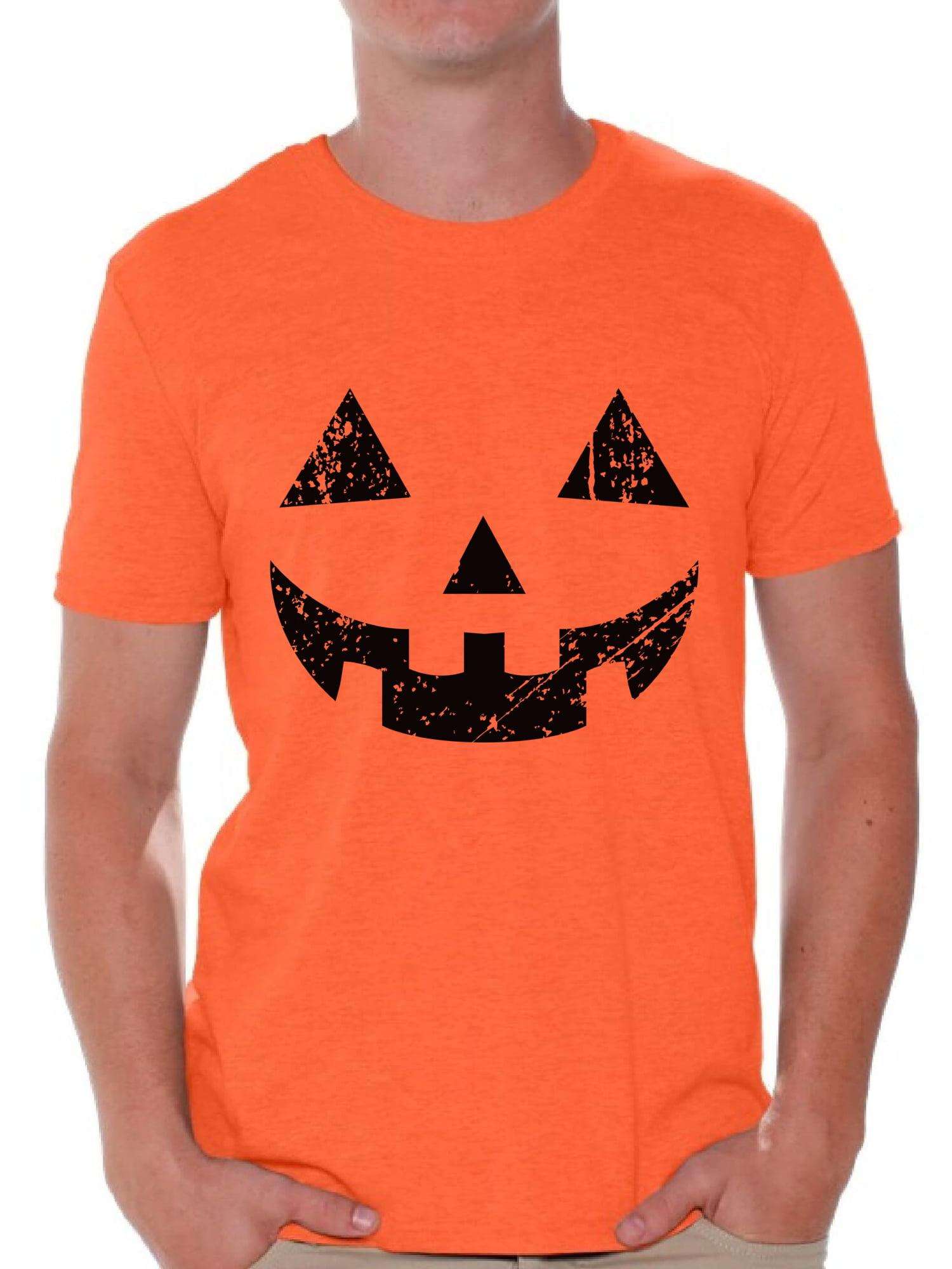 Men/'s big and tall t-shirt Halloween pumpkin jack o lantern costume tall tee