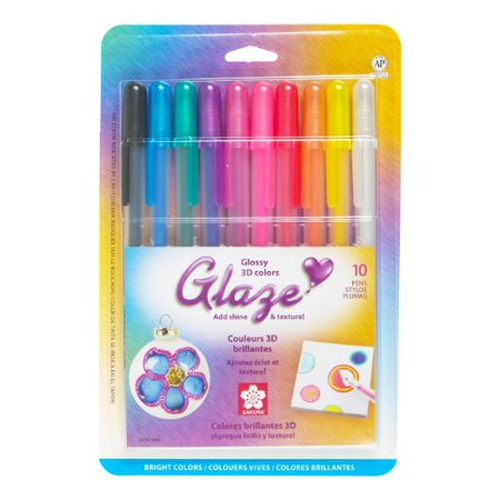 - Sakura 38370 10-Piece Blister Card Glaze Assorted Color 3-Dimensional Glossy Ink Pen Set, Bright